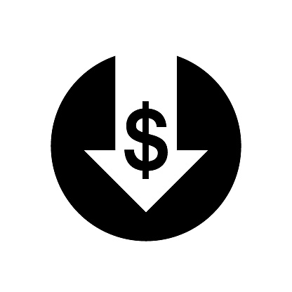 money sign with arrow pointing down
