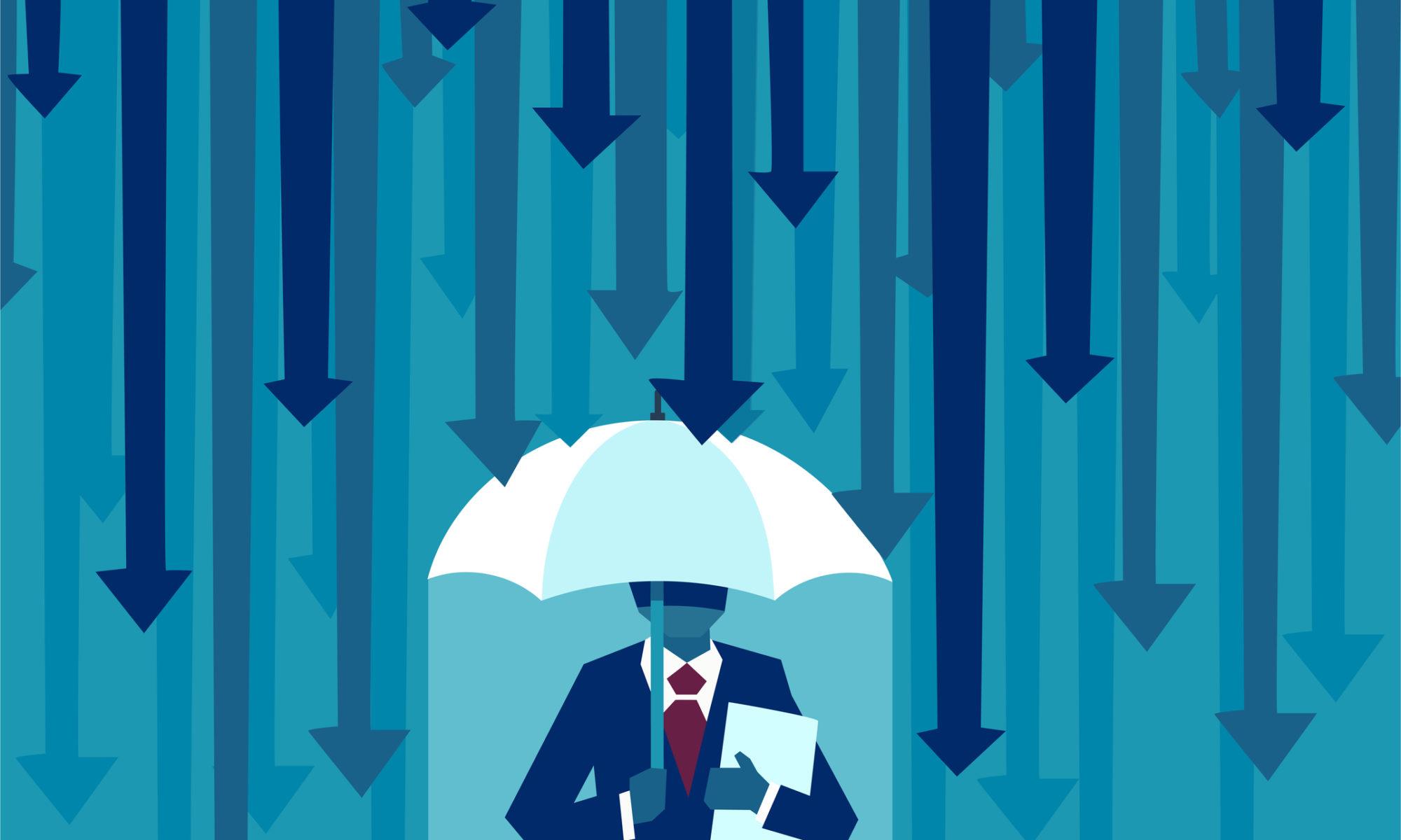 man standing under umbrella while it rains arrows