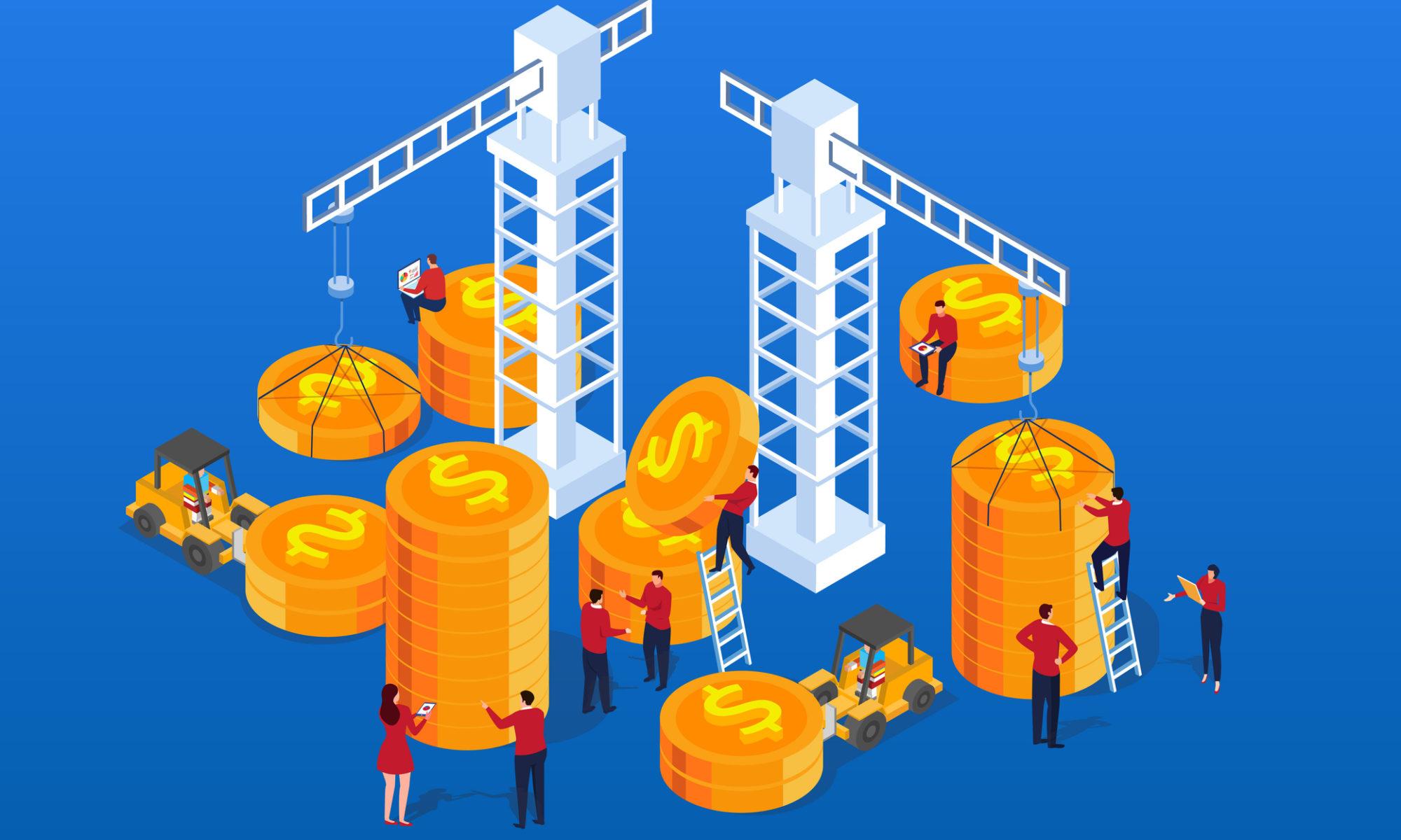 cranes carrying money