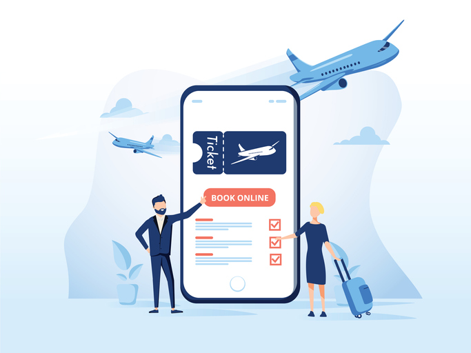 airplane ticket on phone