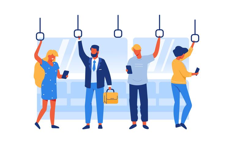 people on public transportation