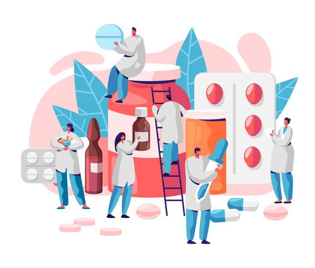 doctors looking at medicine