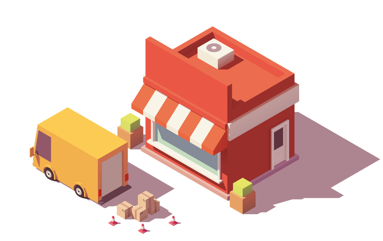 truck unloading boxes into a store