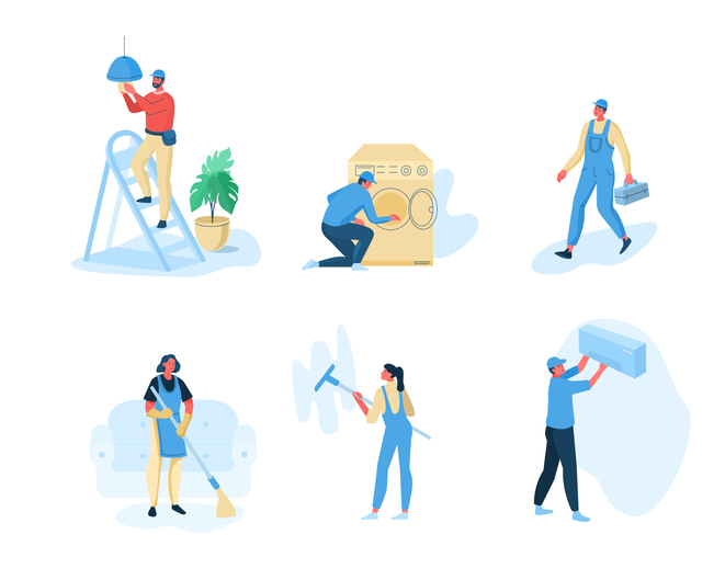 man changing a light, doing laundry, carrying a toolbox, sweeping, painting a wall, and putting up a shelf
