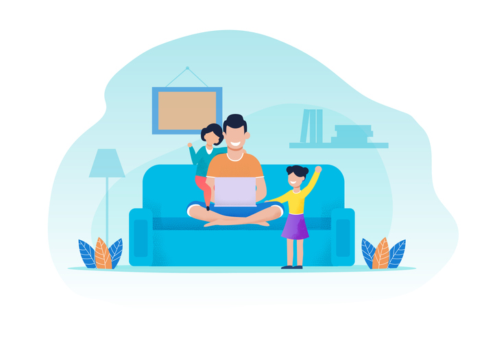 dad sitting on couch with two kids