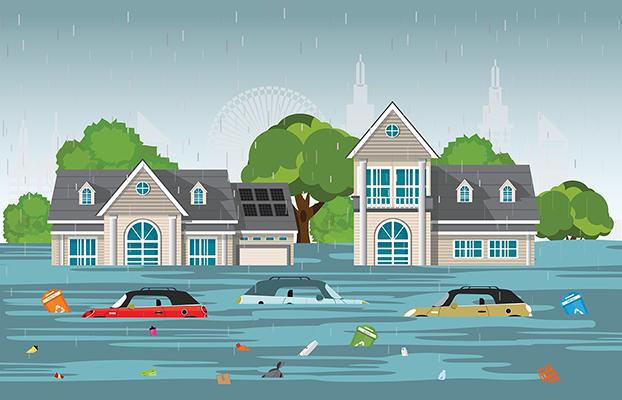 Storm floods neighborhood